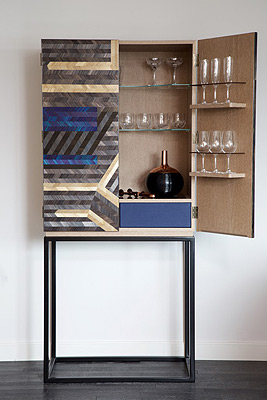 straw marquetry drinks cabinet violeta galan