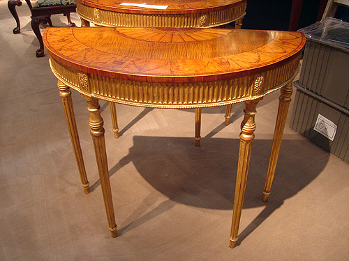 NYC-antique-fair-demi-lune-tables-themodernsybarite