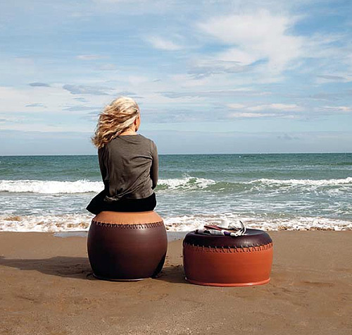 ceramic leather drum stools italy