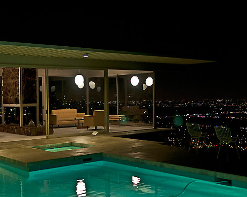 Stahl House LA at night