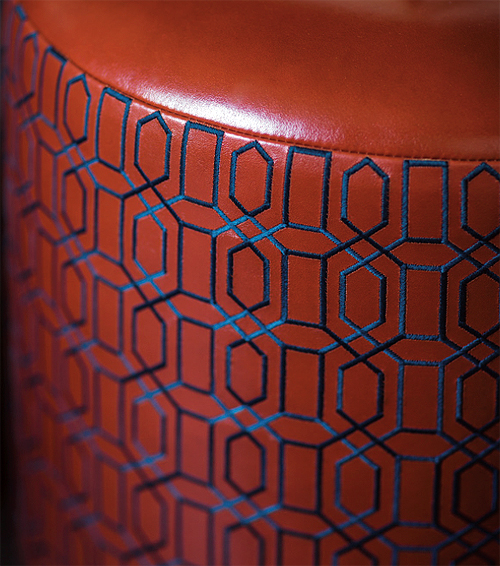leather embroidered stools detail